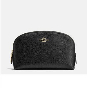 Coach black leather cosmetic case